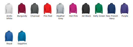 1/4 Zip Sweatshirt Colour Choices
