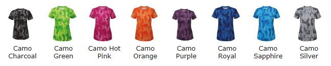 Hexoflage Female T Shirt Colour Chart