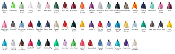 Hoody Colour Chart