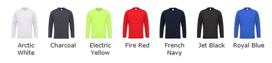 Long Sleeved Technical T Shirt Colour Choices