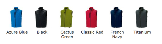 Softshell Gilet Colour Choices