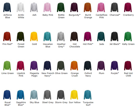 Sweatshirt Colour Chart