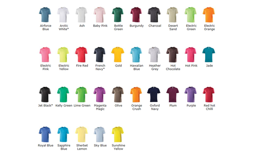 Technical T Shirt Colour Choices